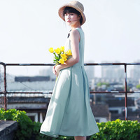 Light Blue Pleated A-Line Sleeveless Midi Dress