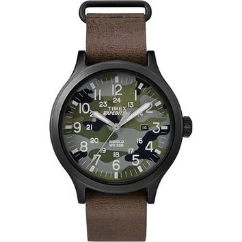 Timex Expedition&reg Scout 43 Watch - Camo Dial/Brown Leather