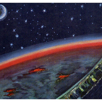 Night on Earth (Artist A. Leonov) Vintage Postcard - Printed in the USSR, «Soviet Artist», Moscow, 1966