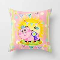 Pink Prize Pig Pennant Children's Art Throw Pillow by Cool Cat Creative
