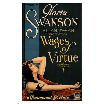 gloria swanson WAGES OF VIRTUE movie poster allan DWAN 1924 24X36 VINTAGE