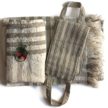 Linen Bathroom Set, Bathroom Towel, Face Towel, Bath Scrubber, Back Scrubber, Hand Towels, Massage, Housewarming Gift, Beige Striped Towels