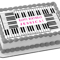 Piano Keys Edible Birthday Cake Topper OR Cupcake Topper, Decor