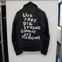 Back Lettering Nubuck Leather Biker Jacket
