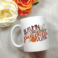 fall coffee mug, autumn mug, pumpkin spice, fall coffee cup, fall gift ideas, holiday gift, halloween mug, thanksgiving mug, cute coffee mug