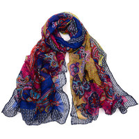 Floral Printed Women Yellow Scarf Shawl _ 10067