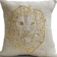 Lion Pillows - Animal pillow with lion embroidered in gold sequin -Burlap pillows -Gold lion pillow - Gold pillows- Wildlife pillows 16x16