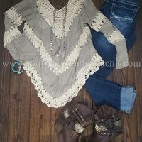 OPEN CROCHET INSET SOLID KNIT TOP