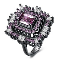 New Black Gun Pink Blue Square Stone Rings Luxury Design Big Purple CZ Trendy Engagement Finger Rings For Women