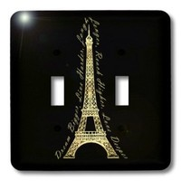 3dRose lsp_165896_2 Paris Dream Bigger Inspirational Design Black and Gold Light Switch Cover