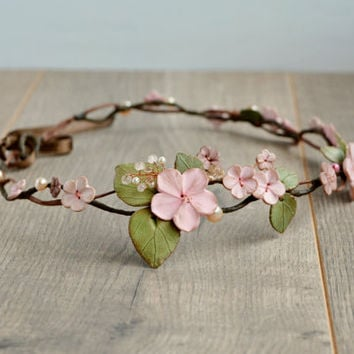 Wedding flower crown,  Woodland hair wreath, Hair floral crown, Wedding hairpiece, Apple Blossom Floral Crown, Ivory flower halo Ivory tiara