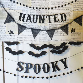 HALLOWEEN Party Pack Trio - you choose - glitter letter banner & decorative garlands