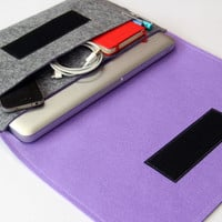 "13"" inch Apple Macbook Pro laptop Organizer Case Cover - Gray & Violet - Weird.Old.Snail"