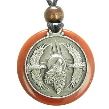 Amulet Howling Wolf Eagles Magic Medallion Circle Red Jasper Pendant Necklace