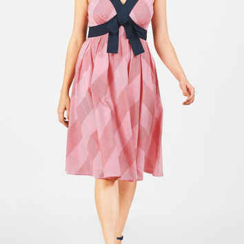 Bow tie empire gingham check dress