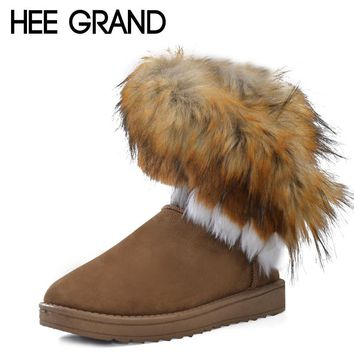 HEE GRAND 2016 Winter Warm High Long Snow Boots Artificial Fox Rabbit Fur Leather Tassel Women's Shoes Size 35-41 xwx219