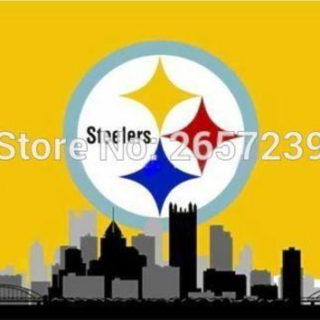 Pittsburgh Steelers yellow Skyline  flag  3x5FT NFL banner150X90CM 100DPolyester brass grommets custom flag, Free Shipping
