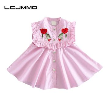 LCJMMO Baby Dresses  Summer Infant Roses Floral Baby Girl Dress Princess Party Ruffled Sleeveless Girls Dresses Clothes 1-3Y
