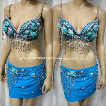 Turquoise Shell Mermaid Bra with Skirt Cosplay Dance Costume Rave Halloween