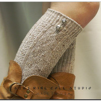 The Bavarian lace  BOOT SOCKS - oatmeal tweed knit long socks w 2 antique silver buttons peeking from the top of your boots - made in usa