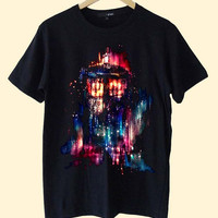 tardis dr who paint galaxy clothing T Shirt Mens and T Shirt Girls customized