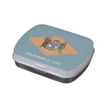 Patriotic candy tins with Flag of Delaware