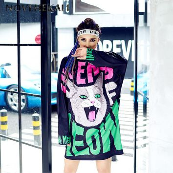 Personality New women's T-shirt EuropeTide street graffiti clothing loose top Tee youthful design loose Long sleeves T-shirt