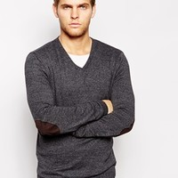 ASOS V Neck Sweater with Patch in Cotton - Charcoal twist