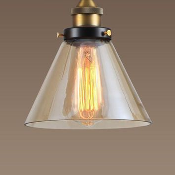 Modern Pendant Lights Amber Glass Retro Kitchen