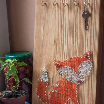 ON SALE Wood key holder, Fox string art, fall decor, key hook, wall key rack, fox key rack, wood key rack, hallway wall decor,hallway art