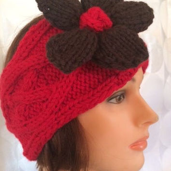 Hand Knit Cabled Flower Head Warmer Head Band - Free Shipping in the US - Ear Warmer - Red Chocolate Flower