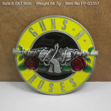 GUNS&ROSES Cowgirls CowboysMetal Belt Buckle Texas Fashion Mens Western Badge Feathers Native Avengers