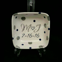 "Personalized Ring Dish For All Your Sparkly Things 4""x4""x1.25"" - Wedding Party - Mother's Day - Custom to say anything you wish"