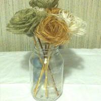 Burlap Flowers Roses Shabby Chic Wedding Decor Set of 10 with Stems