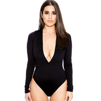 Women's V Long Sleeve Bodysuit