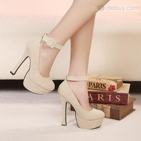 Sexy Apricot Platform Closed-toe Stiletto Heels Women's Shoes