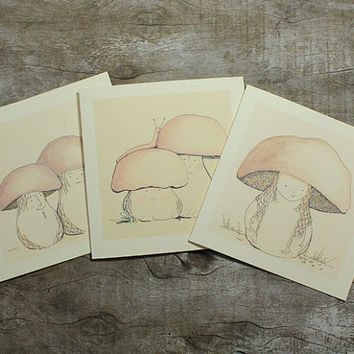 Card Mushroom Fairytale Boletus Fall Autumn 3 Drawing Art ink pencil prints Forest Woodland soft yellow