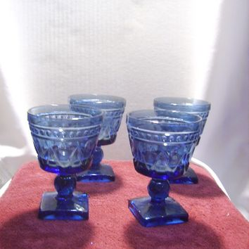 Glass Sherbert Bowls vintage 1960's Sherry Goblets Blue, retro 60's Pressed Glass nostalgic desert Thanksgiving Christmas  Holiday Party 85b