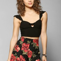 Pins And Needles Ruffle-Shoulder Cropped Top - Urban Outfitters