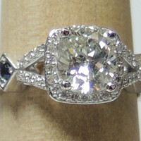 1.41ct Cushion Diamond and Sapphires Engagement ring JEWELFORME BLUE Anniversary Bridal Jewelry certified Diamonds