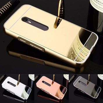 Fashion Luxury Rose Gold Mirror Case for coque Moto X Play case Back Cover for Motorola Moto X Play Mobile Phone Shell