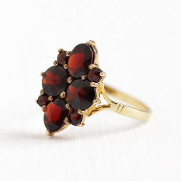 Vintage Garnet Ring - 10k Yellow Gold Dark Red Gemstone Flower Cluster Halo - Size 7 1/2 Germany January Birthstone Fine Statement Jewelry