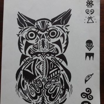 Tribal Ink Owl Drawing, Native American Art, American Indian Tribal Art, Owl Art, Cherokee, Sharpie Tribal Drawing, Great Horned Owl