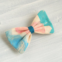 Hair bow, Small Printed Sky Blue, Light pink and Teal Mint Fabric Barrette Clip Hair Accessories for Girls Women Handmade