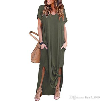 Women Summer dresses Loose Pullover Maxi Dress A type Casual Solid Color Long Dress Short Sleeve Backless Lady Pocket Womens Clothing S-2XL