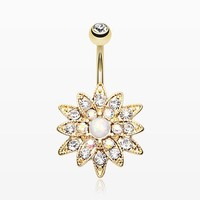 Golden Opal Chrysanthemum Flower Belly Button Ring
