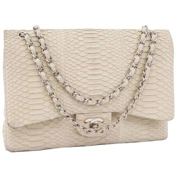 CHANEL Maxi Jumbo Double Flap Bag in Ecru Python