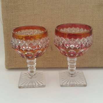 Two Indiana Cranberry glass | Oval thumbprint