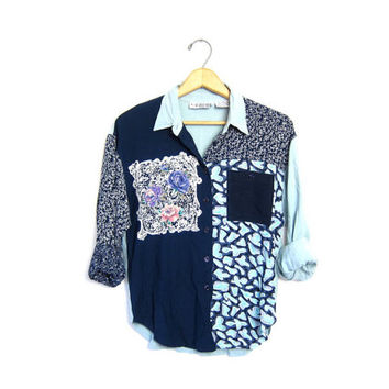 Floral Blouse Button Up 90s Slouchy festival Patchwork Shirt Bohemian Grunge Rayon Gypsy Tribal blue long sleeve Top Womens Small