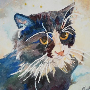 Water Color : Tuxedo tomcat watercolor print. Cat painting. Watercolor art. Watercolor cat. Watercolor animal. Cat wall art. Tuxedo cat.